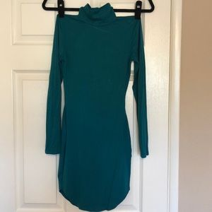 Missguided Dresses - Misguided Teal long Sleeve Turtleneck Body con